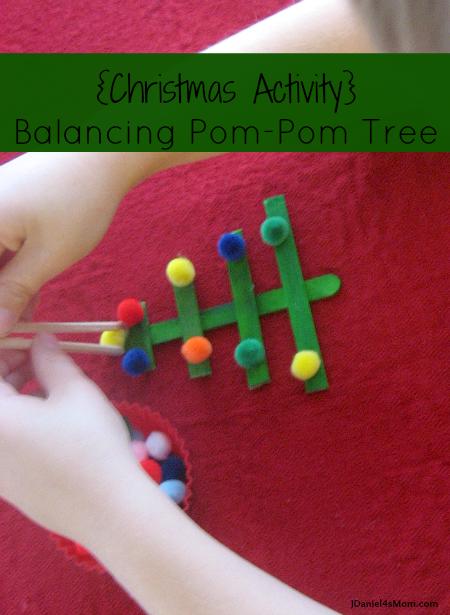 Christmas tree balancing pom pom activity STEM challenge