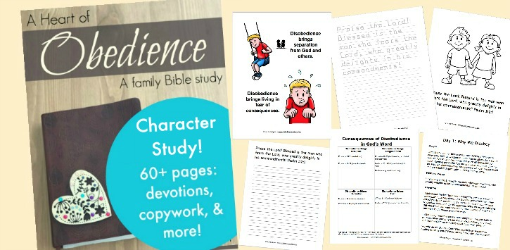 Teach children obedience with this 60+ page family Bible study!