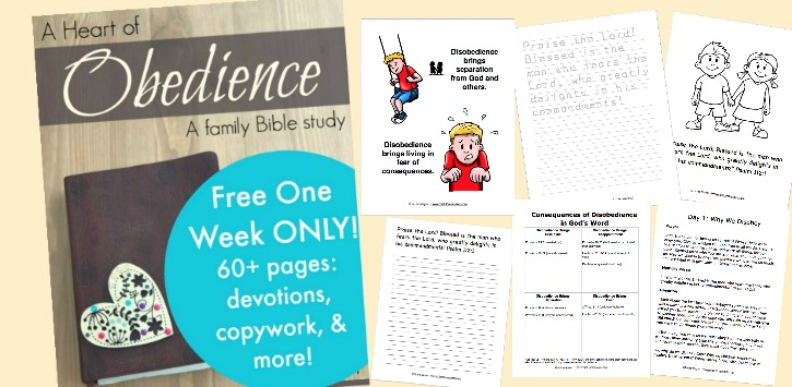 Teach your kids obedience with this 60+ page family Bible study!