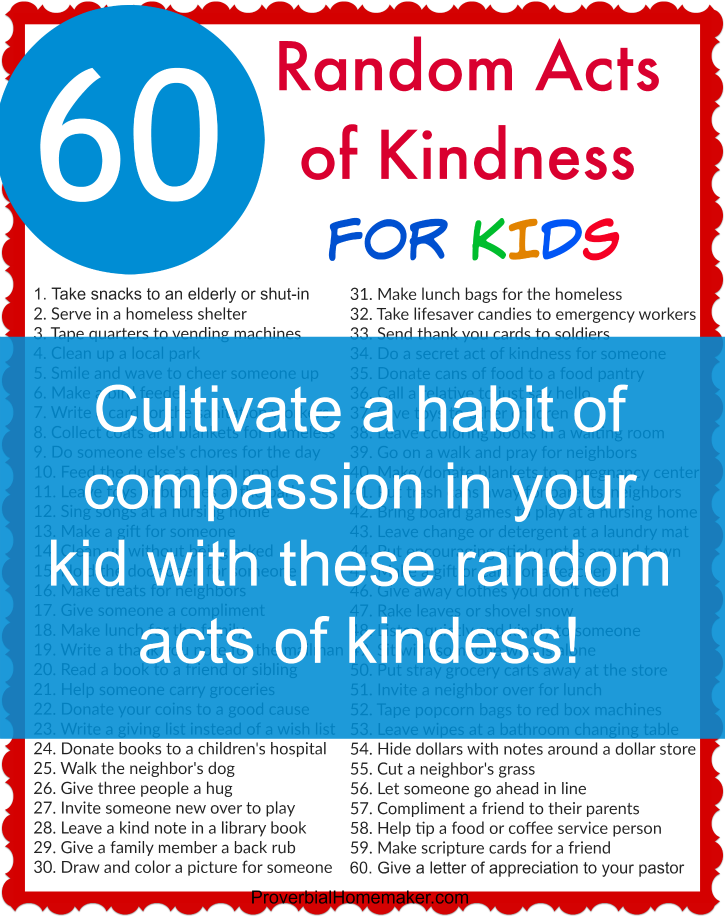 image regarding Random Act of Kindness Printable referred to as 60 Random Functions of Kindness for Little ones - Proverbial Homemaker