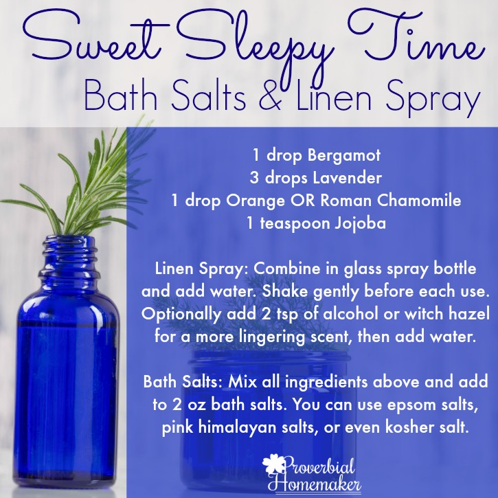 Bath salts and linen spray - recipes using essential oils for better sleep!