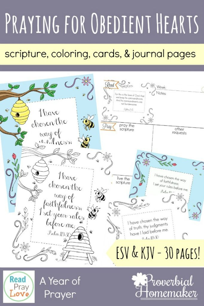 Pray for obedient hearts in yourself and your loved ones with these journaling pages, scripture cards, scripture coloring pages and more! Part of the Read, Pray, Love challenge.