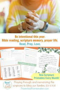 Read, Pray, Love is a Bible reading, prayer, and scripture memory system that includes beautiful monthly scripture art prints and memory verse cards as well as a short devotion/prayer guide.
