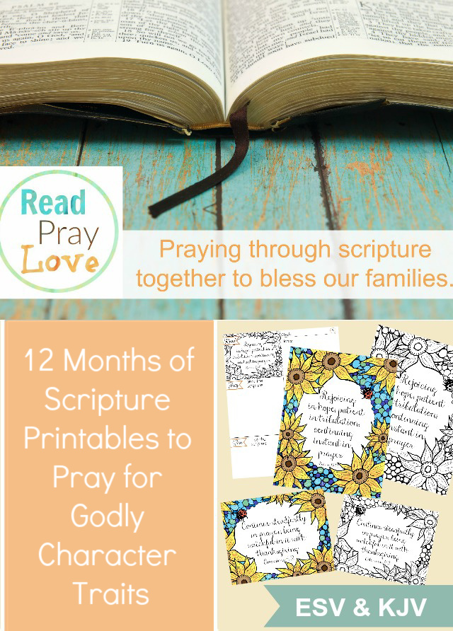 Pray the scripture over your family, focusing on a different godly character trait each month for a whole year! Includes gorgeous scripture art prints and memory verse cards with COLORING PAGES!