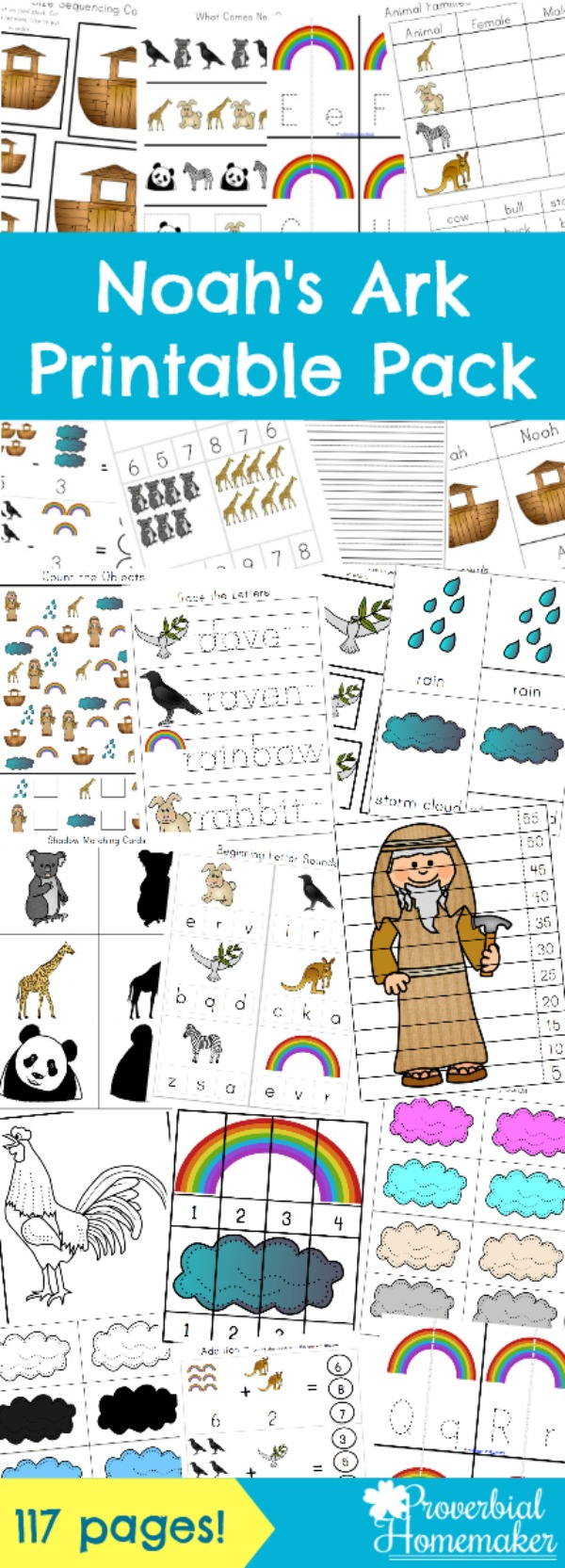 Teach your children about this wonderful Bible story with a Noah's Ark printable pack - 117 pages of scripture, activities, and more!