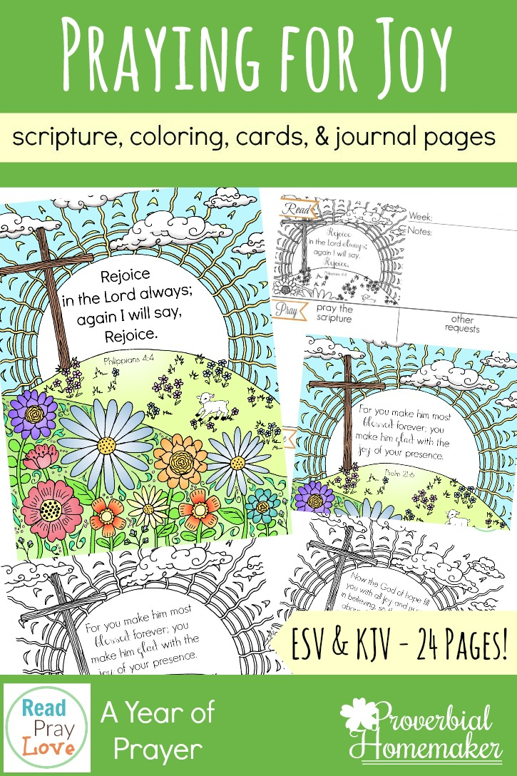 Praying for joy in our families - pray for joyful homes and hearts with these journaling pages, scripture cards, scripture coloring pages and more! Part of the Read, Pray, Love challenge!
