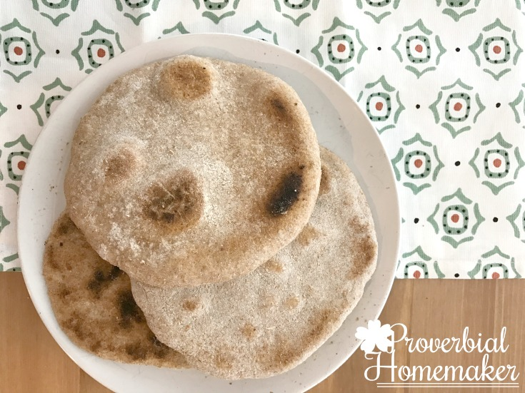 Easy flatbread recipe - can be all whole wheat, all white flour, or half and half. Freezes well!