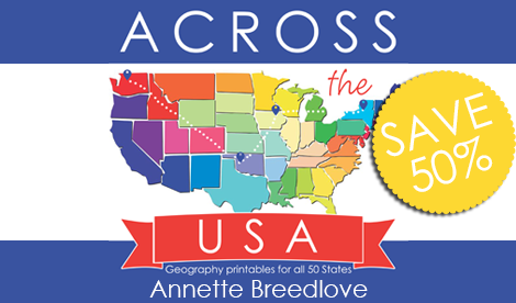 Across the USA geography curriculum for kids - a great way to start teaching Unites States geography to kids!