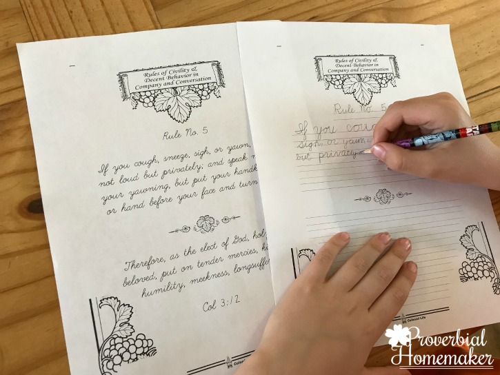 Homeschool in the Woods Colonial Times copywork Rules of Chivalry and Decent Behavior - Manners copywork that George Washington did growing up!
