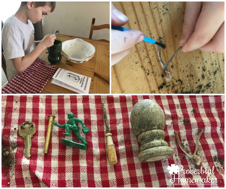 Homeschool in the Woods colonial times archaeological dig