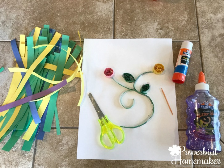 Fun and simple quilling project from Homeschool in the Woods Colonial Times study!