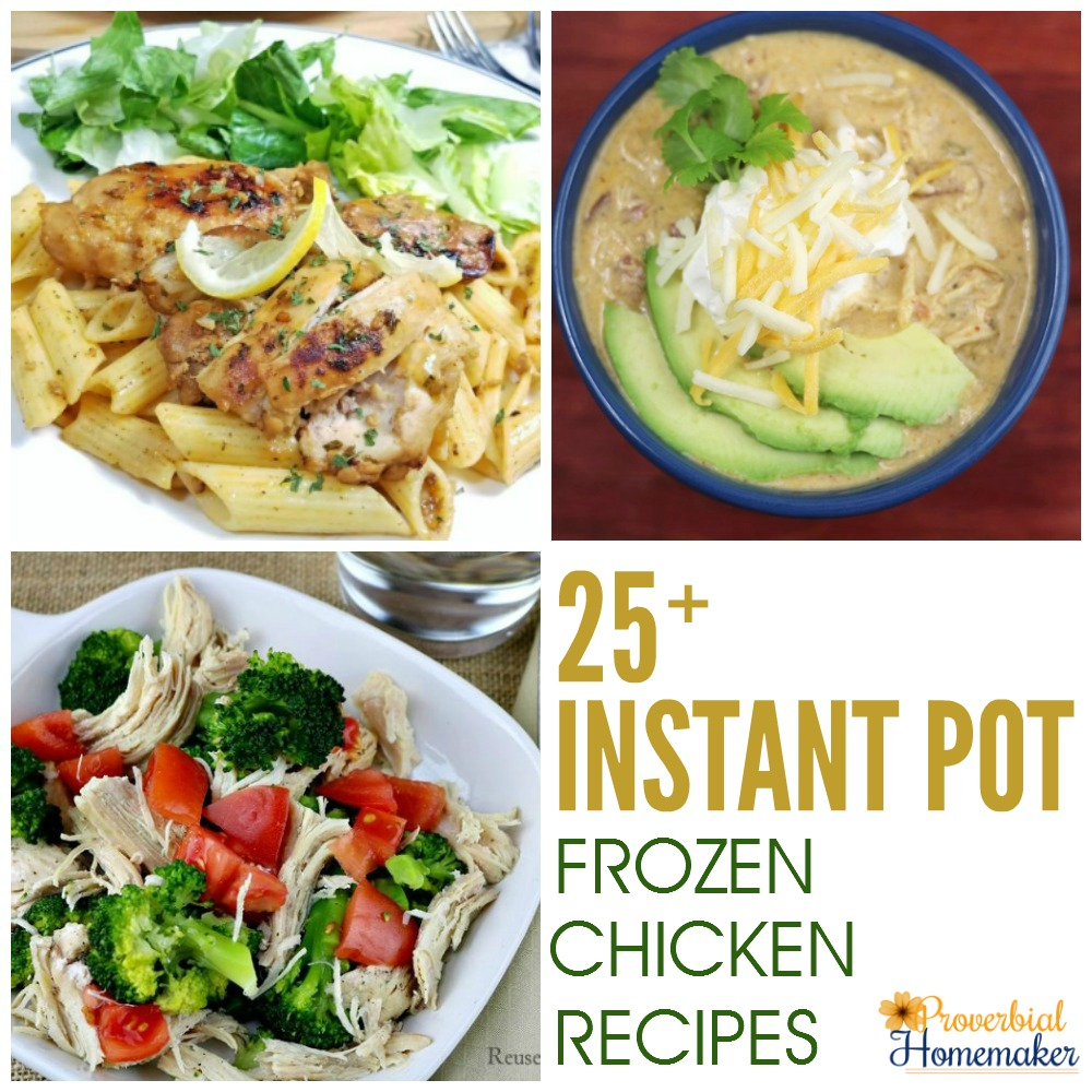 LOVE this roundup of 25 Instant Pot Frozen Chicken Recipes! Perfect for the busy night and last-minute meals.