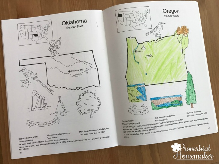 Dover geography coloring books are great help in teaching United States geography to kids