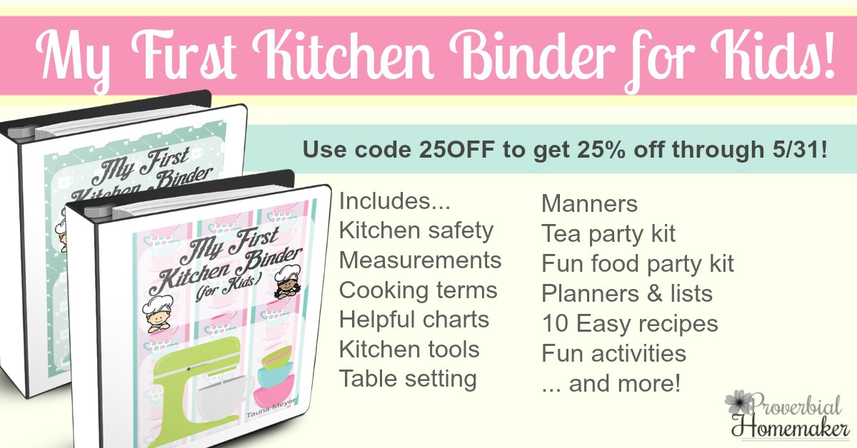 What a great idea! Set up a kitchen binder for learning and fun. My First Kitchen Binder Kids makes a great keepsake, too!