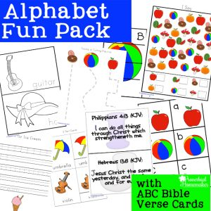Download this free alphabet printable pack for fun learning activities for preschool and kindergarten! Includes I Spy, puzzles, Bible verses, & more!