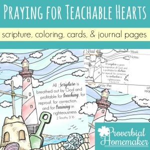 Pray for a teachable heart in yourself, your spouse, and your kids! These beautiful scripture art prints, cards, and journal pages will help you pray diligently!