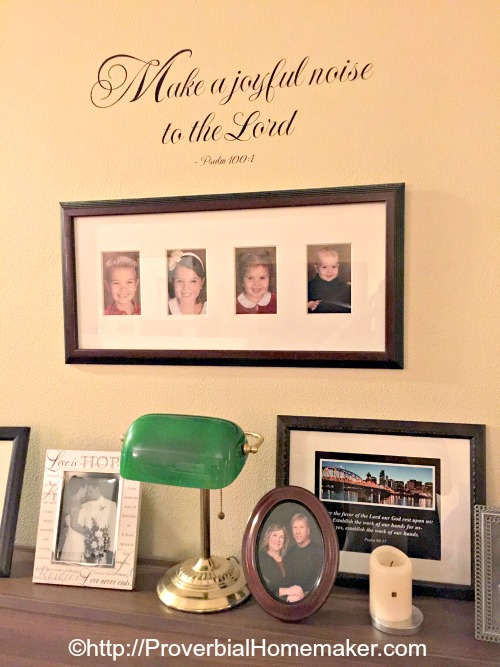 Displaying family photos and scripture wall art - ways to make a more inviting home