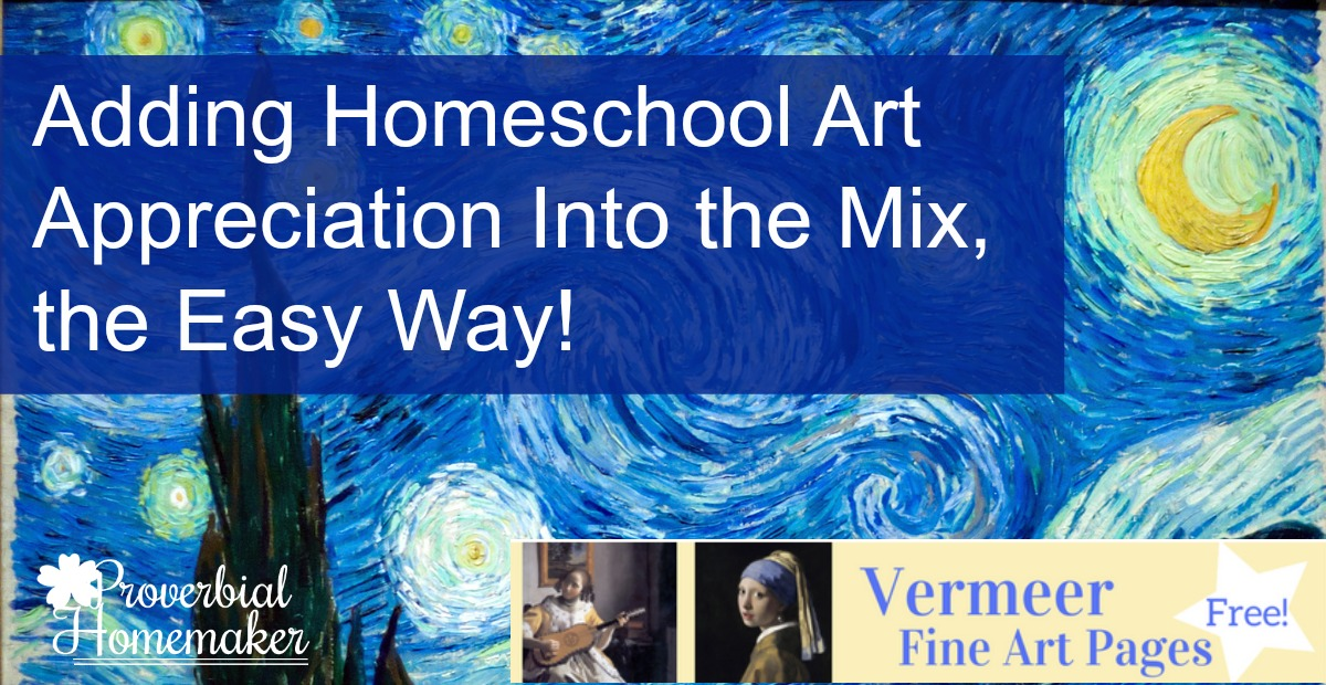 Great tips for adding homeschool art appreciation to the mix plus FREE art pages!