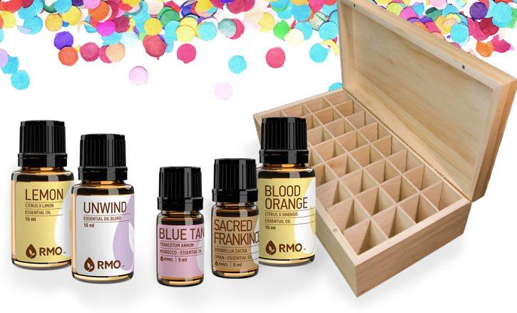 Large wooden essential oils storage box