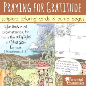 Begin praying for an attitude of gratitude in yourself, your spouse, and your kids! Beautiful scripture art prints, cards, & journal pages help you diligently begin praying for gratitude!