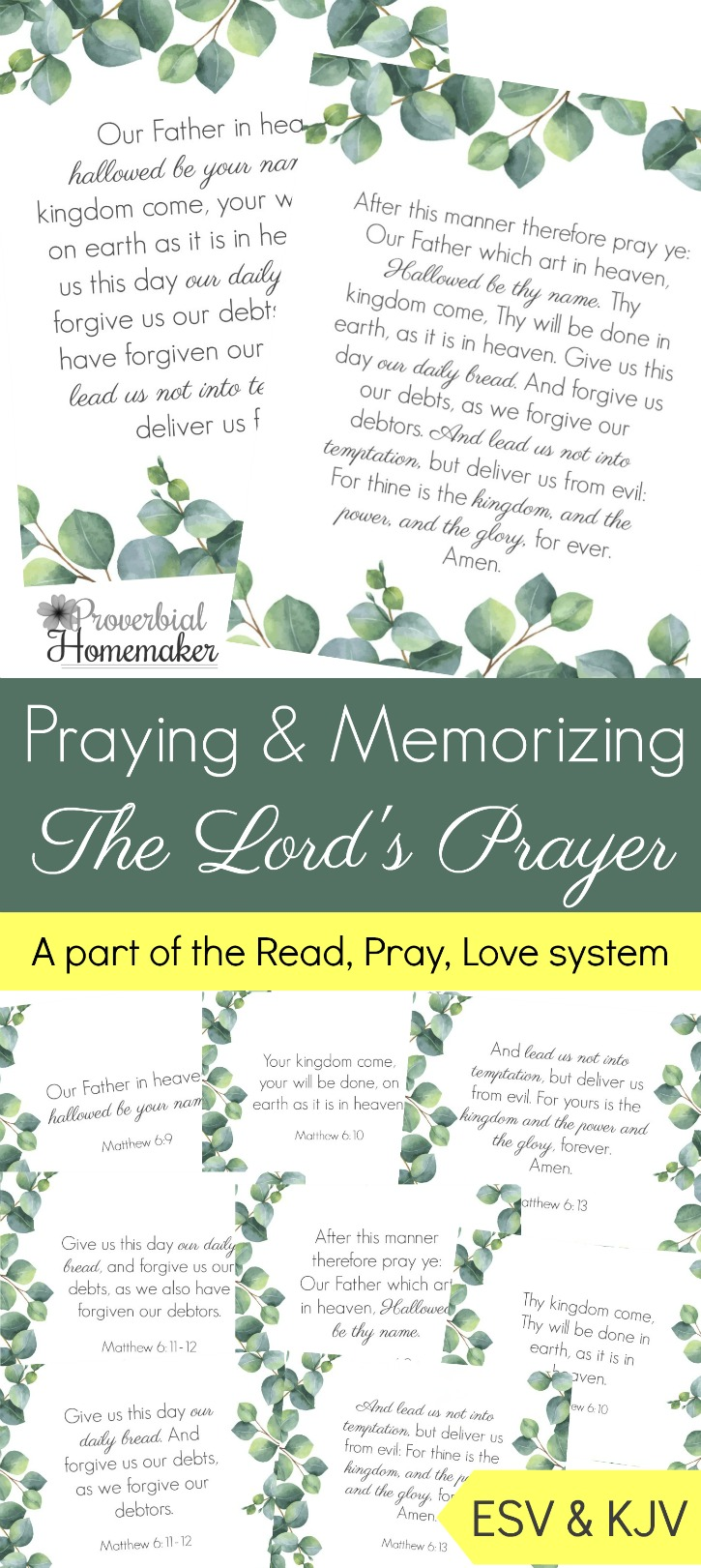 image about The Lord's Prayer Kjv Printable identified as Praying and Memorizing The Lords Prayer - Proverbial Homemaker