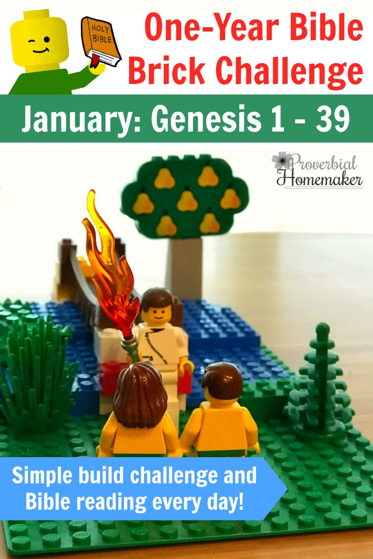 Start with January in the One-Year Bible Brick Challenge! It includes a simple reading plan and a daily build project throughout the month.