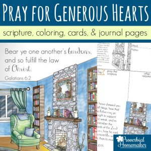 Begin praying for generous hearts in yourself, your spouse, and your kids! Beautiful scripture art prints, cards, & journal pages help you diligently begin praying for generosity!