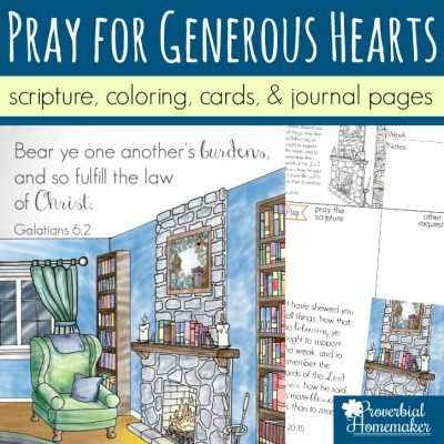 Praying for Generous Hearts (Scripture Printables and Coloring Pages)