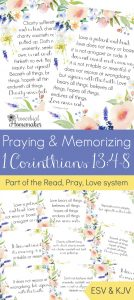 Pray and memorize 1 Corinthians 13 together as a family! These beautiful scripture art prints, memory verse cards, and prayer prompts are a wonderful way to get started. Part of the Proverbial Homemaker Read, Pray, Love system.