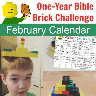 February One Year Bible Brick Challenge Calendar (Genesis 41 – Exodus 25)