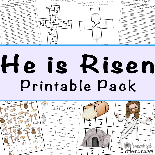 Teach your children the true meaning of Easter this year with this 100-page He Is Risen Resurrection Sunday Printable Pack.