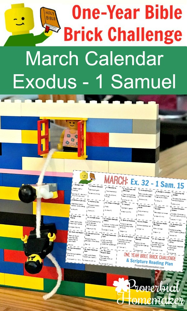 The March calendar for the One-Year Bible Brick Challenge goes from Exodus to 1 Samuel with great examples of godly vs. ungodly behavior, and the consequences of each. It includes a simple reading plan and a daily Lego build project throughout the month.