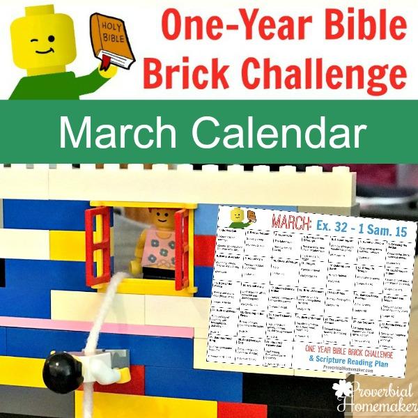 March One Year Bible Brick Challenge Calendar (Exodus 32 – 1 Samuel 15)