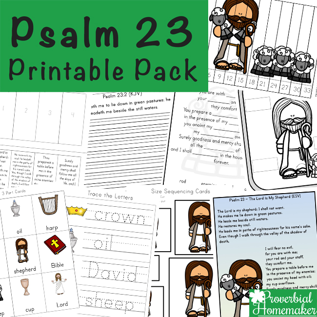 image about Printable 23rd Psalm identify Psalm 23 Printable Pack - Proverbial Homemaker