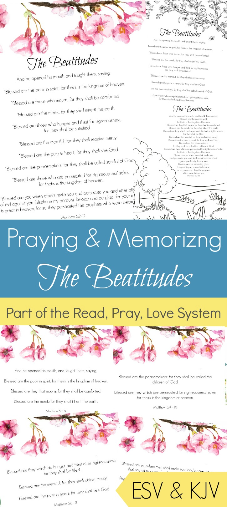 Pray and begin memorizing The Beatitudes together as a family! These beautiful scripture art prints, memory verse cards, coloring pages, and prayer prompts are a wonderful way to get started. Part of the Proverbial Homemaker Read, Pray, Love system.