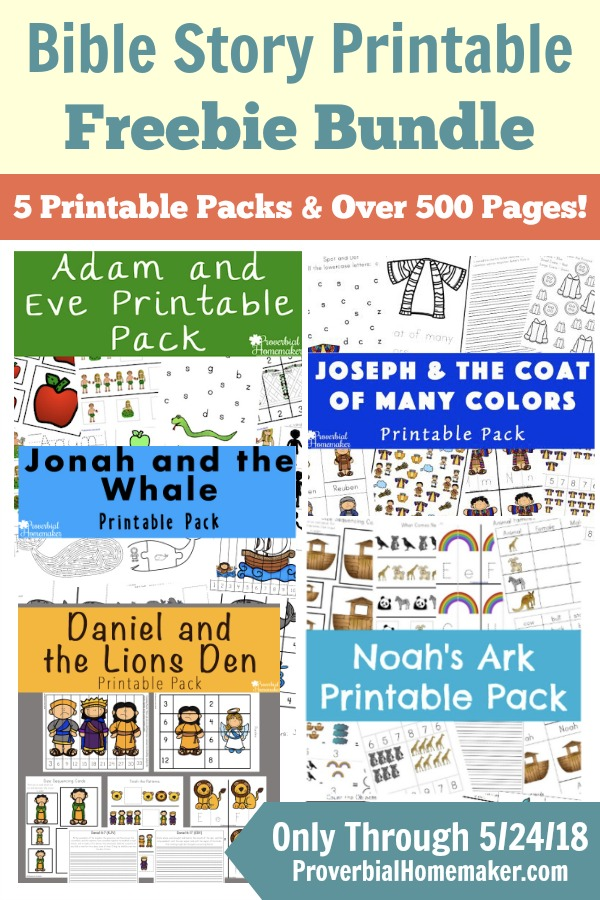 Download this set of 5 Bible story printable packs FREE through 5/24 only! Includes over 500 pages of Bible learning fun for ages 2-9.