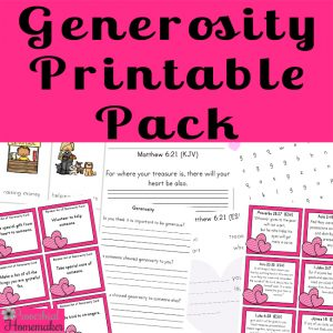 Teach your kids how to be generous with the generosity printable pack! Includes acts of kindness cards, scripture memory, Bible study, games, puzzles, and more!