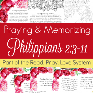 Pray and begin memorizing Philippians 2:3-8 together as a family, all about thinking of others! These beautiful scripture art prints, memory verse cards, coloring pages, and prayer prompts are a wonderful way to get started. Part of the Proverbial Homemaker Read, Pray, Love system.