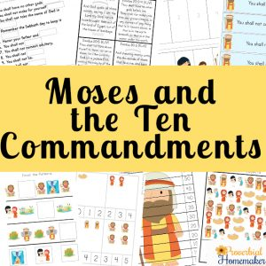Teach your kids about Moses and God's law with this fun Ten Commandments printable! It includes events in Moses' life, memorizing the commandments, games, copywork, and more!