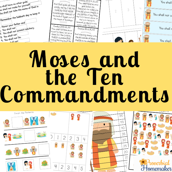 photograph regarding Ten Commandments Printable identified as Moses and the 10 Commandments Printable Pack - Proverbial