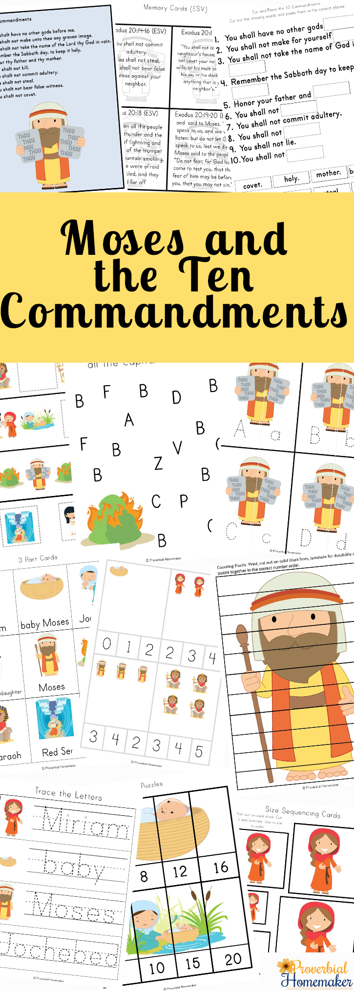 graphic relating to Ten Commandments Printable Activities titled Moses and the 10 Commandments Printable Pack - Proverbial