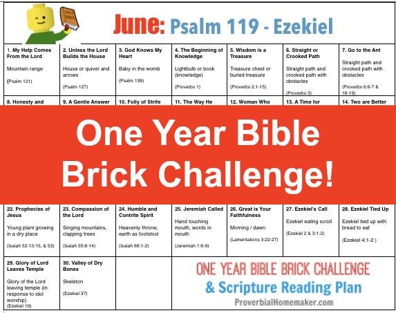 June One Year Bible Brick Challenge - Psalm 119 to Ezekiel. Build with Legos as you read the Bible together!