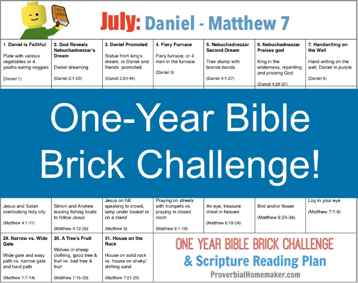 July One Year Bible Brick Challenge - Daniel to Matthew 7. Build with Legos as you read the Bible together!