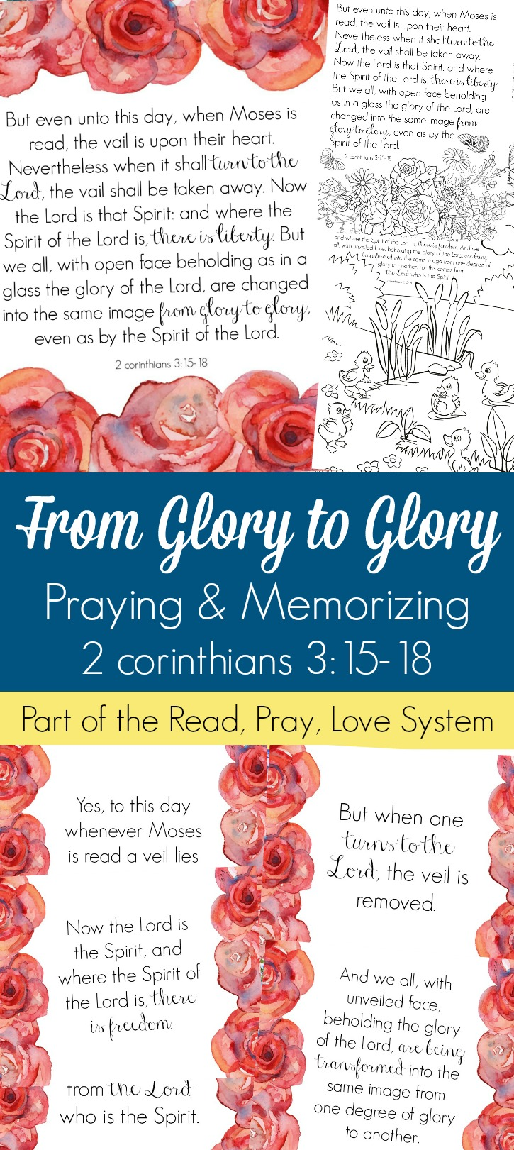 Pray and begin memorizing 2 Corinthians 3:15-18 together as a family, all about the freedom and transformation in Christ! These beautiful scripture art prints, memory verse cards, coloring pages, and prayer prompts are a wonderful way to get started. Part of the Proverbial Homemaker Read, Pray, Love system.