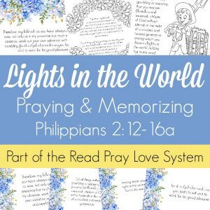 Pray and begin memorizing Philippians 2:12-16a together as a family, all about pursuing obedience and Christlikeness so that we may shine like lights in the world and point people to Christ! These beautiful scripture art prints, memory verse cards, coloring pages, and prayer prompts are a wonderful way to get started. Part of the Proverbial Homemaker Read, Pray, Love system.