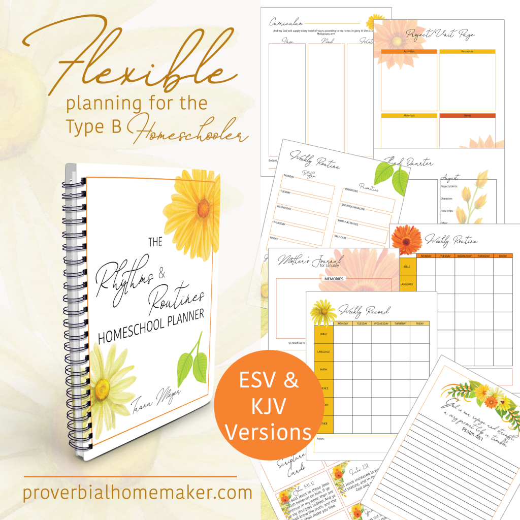 The Rhythms & Routines Homeschool Planning System helps you craft a flexible schedule for your homeschool and use a simple but effective planner to hold all the pieces together! You'll get a customizable planner and a course to guide you through each step of the way, including videos and helpful worksheets!