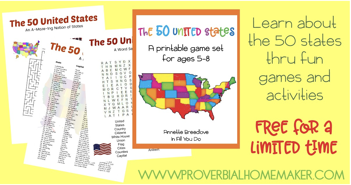 50 United States Printable Game set