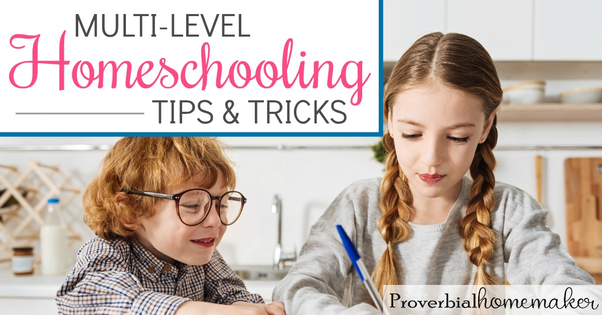 Struggling to homeschool several ages? You'll love these multi-level homeschooling tips and tricks!