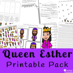 Read the account of Queen Esther in the Bible and then enjoy this Esther printable pack with your kids! Includes 83 pages for ages 2-9.