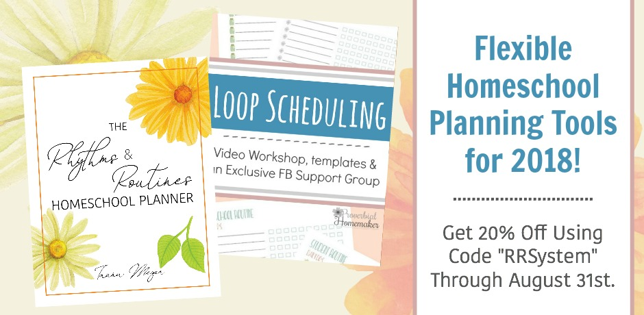 Frustrated with homeschool planning and need something more flexible? Come check out why this mom doesn't do ANY detailed lesson planning and how she uses rhythms and routines for homeschool planning! A great use of loop scheduling, too!